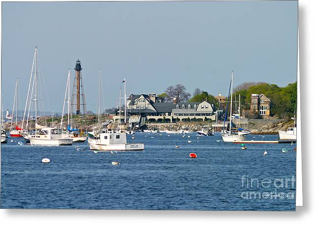 Baker Island Greeting Cards - Marblehead Light and Yacht Club Greeting Card by Michelle Wiarda