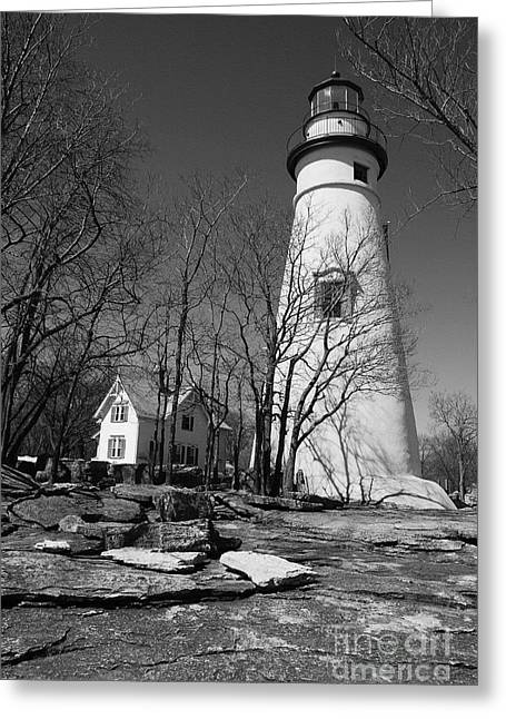 Rocky Shorelines Greeting Cards - Marblehead Lighthouse BW Greeting Card by Mel Steinhauer