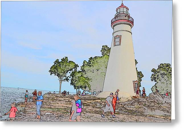 Historic Site Drawings Greeting Cards - Marblehead Lighthouse Greeting Card by Jim Steinmiller