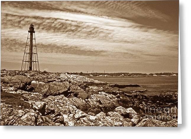 Lighthouse Artwork Greeting Cards - Marblehead Mass Lighthouse Greeting Card by Skip Willits