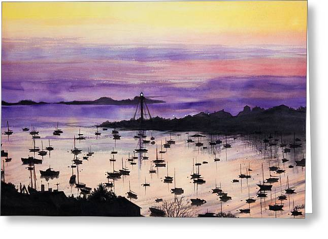 Yellow Sailboats Greeting Cards - Marblehead Sunset Watercolor Greeting Card by Michelle Wiarda