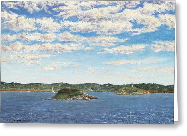 Ledge Greeting Cards - Marblehead View Greeting Card by Elaine Farmer