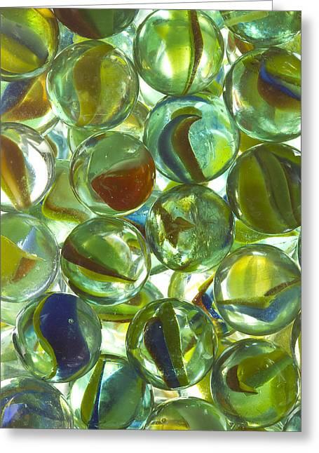 Marble Eye Greeting Cards - Marbles Cat Eyes Vase 1 B Greeting Card by John Brueske
