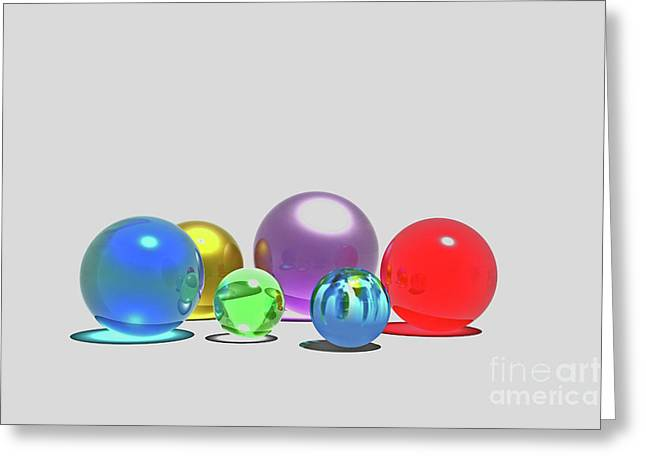 Curve Ball Greeting Cards - Marbles Greeting Card by Corey Ford