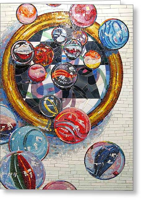 Interior Still Life Mixed Media Greeting Cards - MARBLES Game  Greeting Card by Dan Haraga