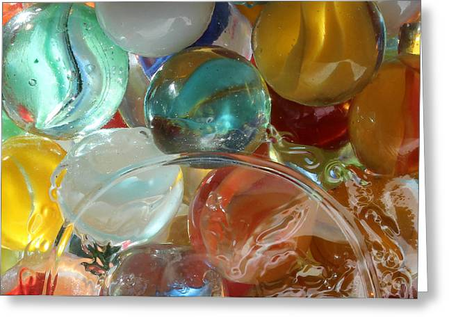 Cats Eye Marbles Greeting Cards - Marbles in a Jar Greeting Card by Mary Bedy