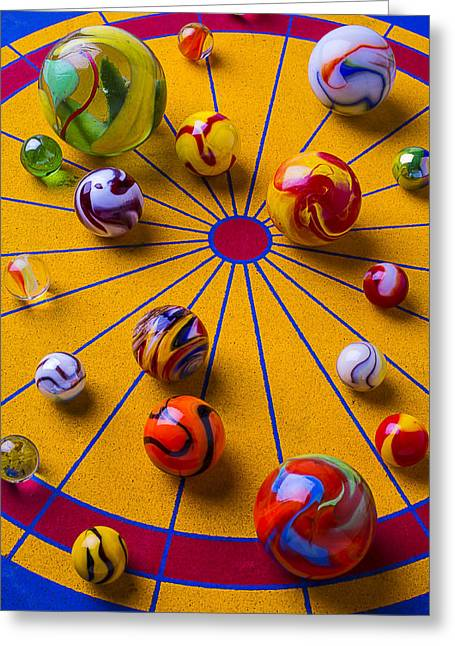 Amusements Greeting Cards - Marbles On Game Board Greeting Card by Garry Gay
