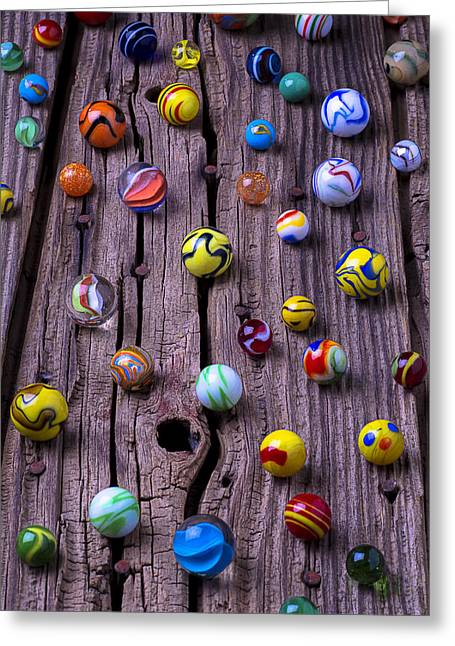 Rusty Nail Greeting Cards - Marbles on wood Greeting Card by Garry Gay