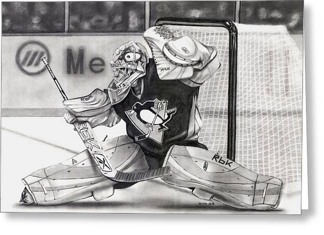 Pittsburgh Drawings Greeting Cards - Marc-Andre Fleury Greeting Card by Adam Acosta