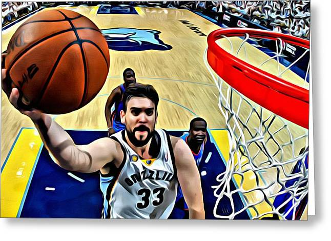 Best Sellers -  - Slamdunk Greeting Cards - Marc Gasol Greeting Card by Florian Rodarte
