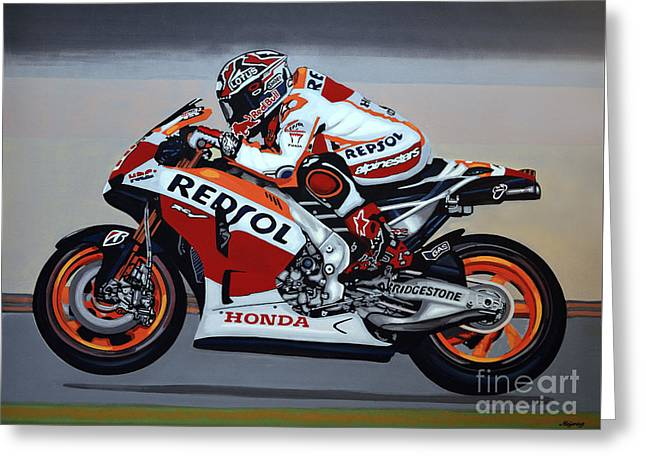 Famous Athletes Greeting Cards - Marc Marquez Greeting Card by Paul Meijering