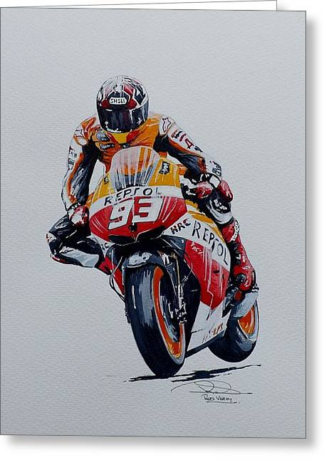 World Champions Mixed Media Greeting Cards - Marc Marquez Greeting Card by Rod Verity