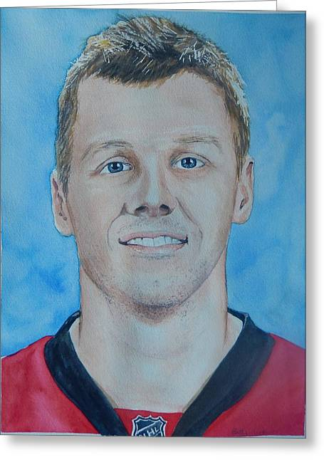 Canada Sports Paintings Greeting Cards - Marc Methot Greeting Card by Betty-Anne McDonald