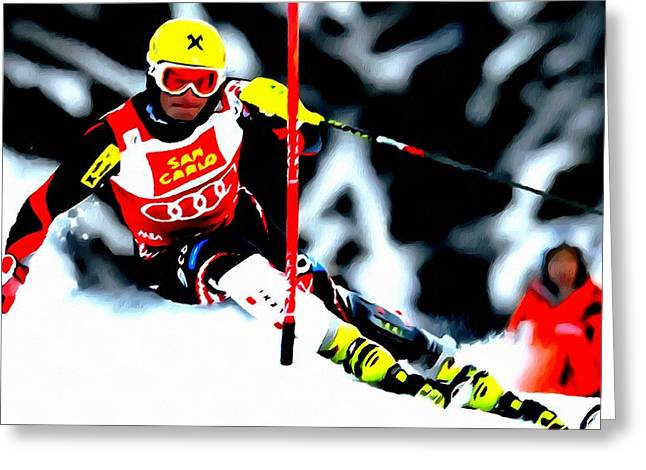 Skiing Action Paintings Greeting Cards - Marcel Hirscher skiing Greeting Card by Lanjee Chee