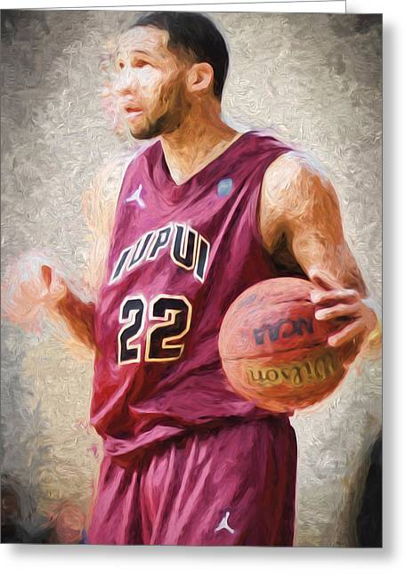 Marcelli Greeting Cards - Marcellus Barksdale IUPUI Point Guard Basketball Digitally Painted Greeting Card by David Haskett