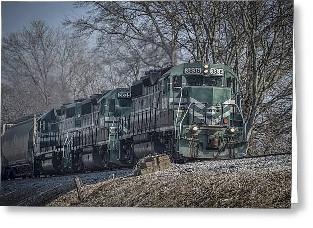 Evansville Greeting Cards - March 11. 2015 - Evansville Western Railway at Mount Vernon Indiana Greeting Card by Jim Pearson