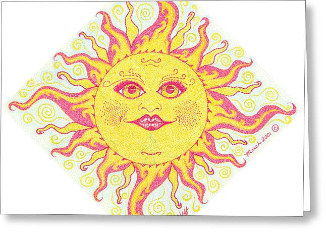March Drawings Greeting Cards - March Miss Patty Sun Greeting Card by Beckie J Neff