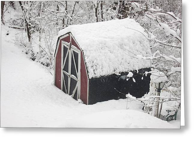 Snow On Barn Greeting Cards - March Snow Storm Late March St. Louis Greeting Card by Monte Landis