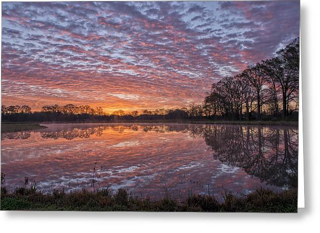 Reflection On Pond Greeting Cards - March Sunrise in a little Town called Sunset Greeting Card by Bonnie Barry