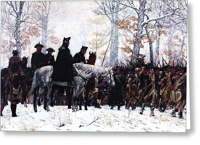 Battle Greeting Cards - March to Valley Forge  Greeting Card by Pg Reproductions