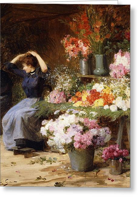 Talking Greeting Cards - Marchande de Fleurs Greeting Card by Victor Gabriel Gilbert