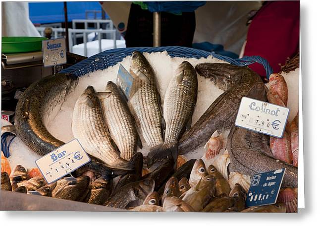 Marche Aux Poissons Greeting Card by Art Ferrier