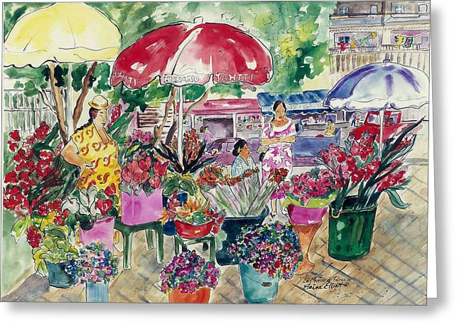 Impressionistic Market Greeting Cards - Marche de Papeete Greeting Card by Elaine Elliott