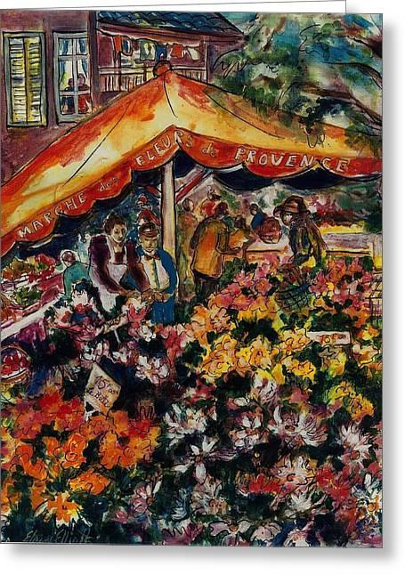 Impressionistic Market Greeting Cards - Marche des Fleurs Greeting Card by Elaine Elliott