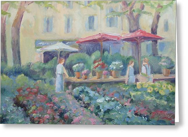 Provence Village Greeting Cards - Marche des Fleurs Greeting Card by Linda  Wissler