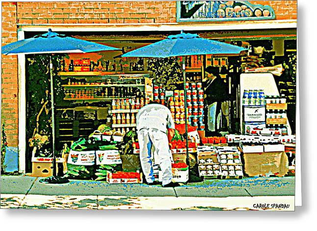 Food Kiosk Greeting Cards - Marche Fruits Et Legumes Fruiterie And Convenience Store Vintage Montreal City Scene Greeting Card by Carole Spandau