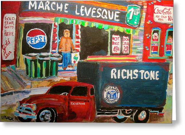 Seven-up Sign Greeting Cards - Marche Levesque Greeting Card by Michael Litvack