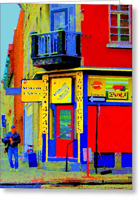 Verdun Restaurants Greeting Cards - Marche Unique Cafe Sandwich Depanneur Rue St. Jacques St. Henri  Street Scenes Carole Spandau Greeting Card by Carole Spandau