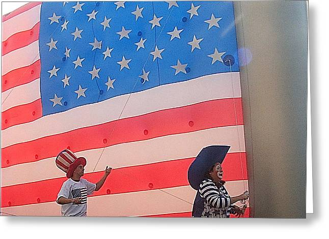 4th July Greeting Cards - Marchers balloon flag number 1 July 4th parade Prescott Arizona 2002 Greeting Card by David Lee Guss