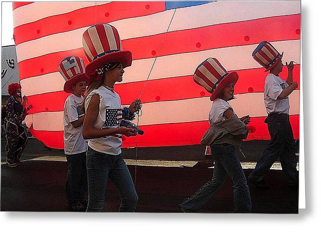 4th July Photographs Greeting Cards - Marchers balloon flag number 2 July 4th parade Prescott Arizona 2002 Greeting Card by David Lee Guss