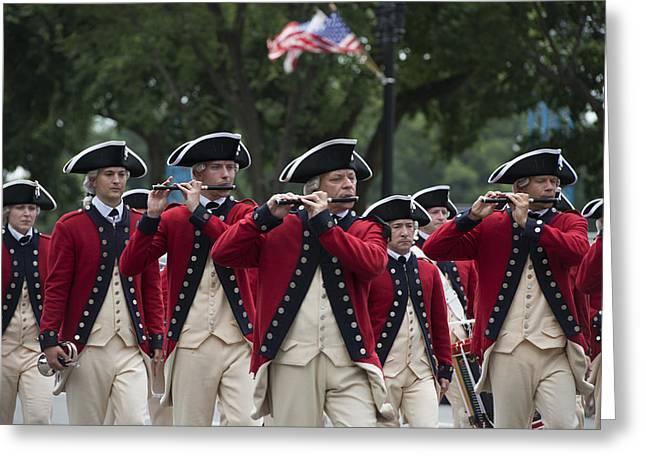 Marching Band Greeting Cards - Marching Band at the July 4th Parade  Greeting Card by Carol M Highsmith
