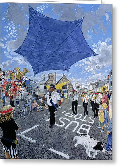 Awning Photographs Greeting Cards - Marching Band, Brecon Jazz Festival, 1994 Oil On Board Greeting Card by Huw S. Parsons