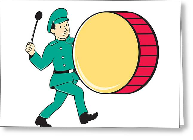 Marching Band Greeting Cards - Marching Band Drummer Beating Drum Greeting Card by Aloysius Patrimonio