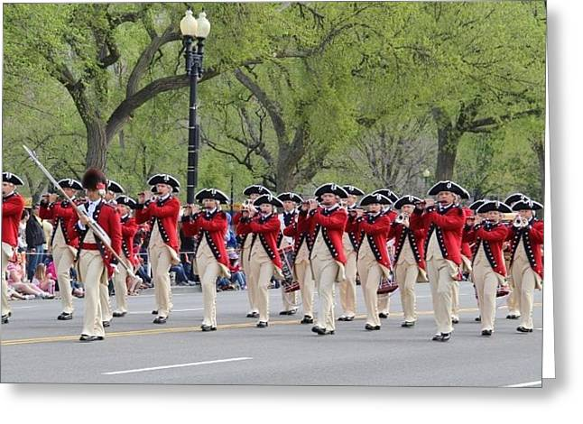 Marching Band Greeting Cards - Marching Band in Cherry Blossom Festival Parade Greeting Card by Laurie Tracy