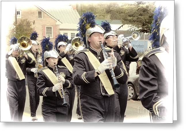 Marching Band Greeting Cards - Marching Band - Shepherd University Ram Band at Homecoming 2012 Greeting Card by Julia Springer