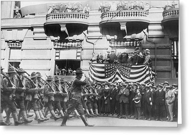 Marching Down Fifth Avenue Greeting Card by Underwood Archives