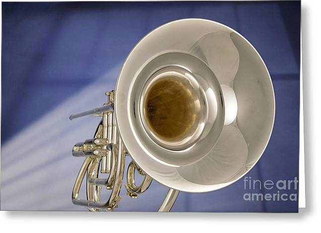 Marching Band Greeting Cards - Marching French Horn Antique Classic in Color 3425.02 Greeting Card by M K  Miller