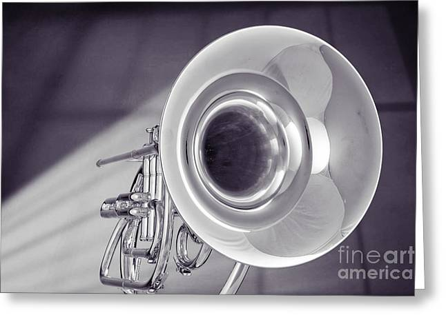 Marching Band Greeting Cards - Marching French Horn Antique Classic in Sepia 3425.01 Greeting Card by M K  Miller
