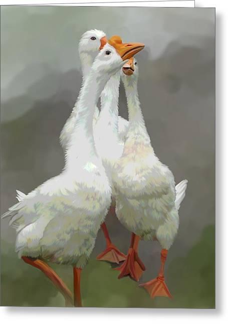 Geese Art Greeting Cards - Marching Geese Greeting Card by Karen Sheltrown