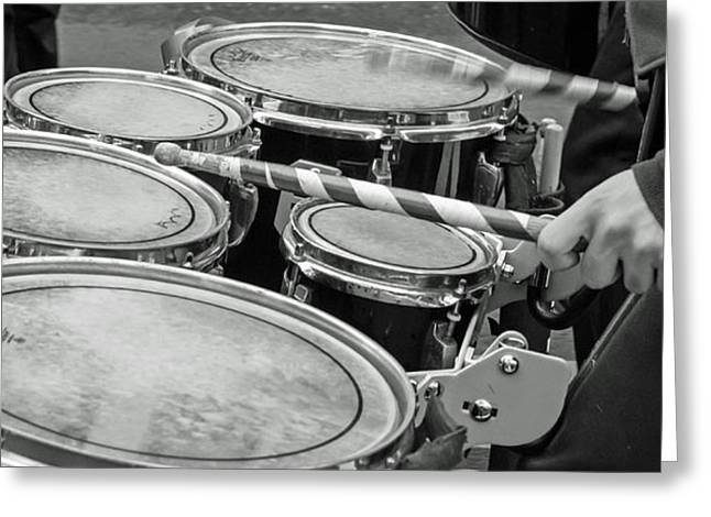Marching Band Greeting Cards - Marching Percussion Quints BW Greeting Card by Photographic Arts And Design Studio
