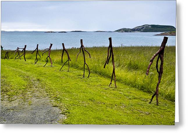 Wooden Sculpture Greeting Cards - Marching to Sea Greeting Card by YJ Kostal