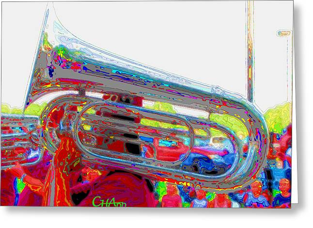 Tubist Greeting Cards - Marching Tuba Greeting Card by C H Apperson