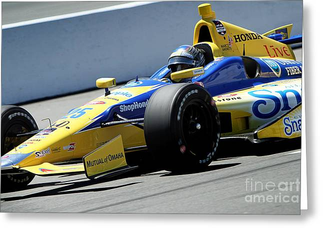 Andretti Greeting Cards - Marco Andretti Pit Lane Greeting Card by Bryan Maransky