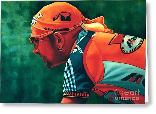 D Greeting Cards - Marco Pantani 2 Greeting Card by Paul  Meijering