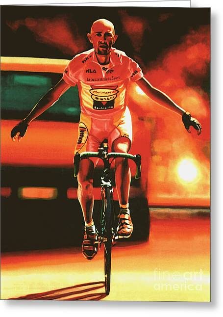 Bandana Greeting Cards - Marco Pantani Greeting Card by Paul  Meijering