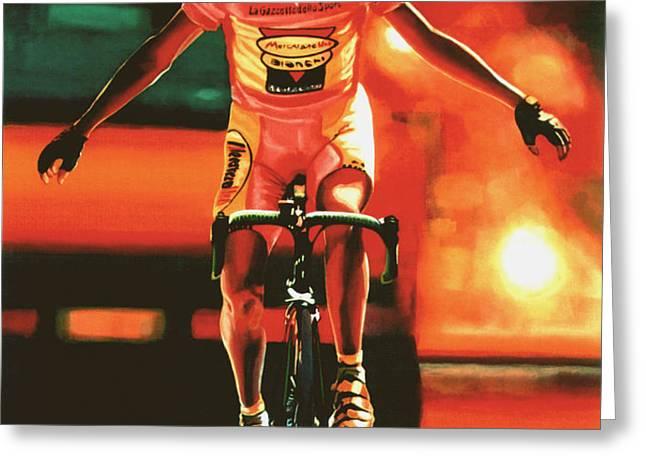 Marco Pantani Greeting Card by Paul  Meijering